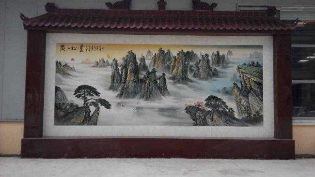 手绘大型壁画厂家学校标语定做伟人像墙画山水画